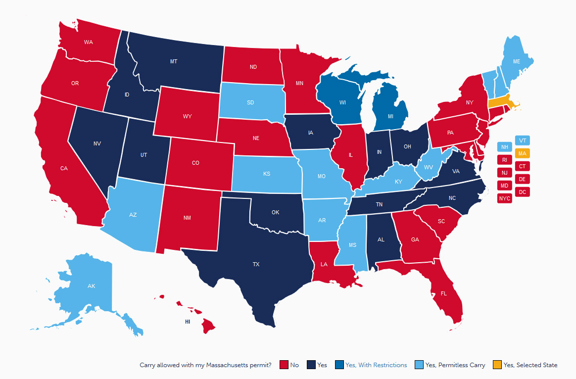 Massachusetts CCW Reciprocity Map